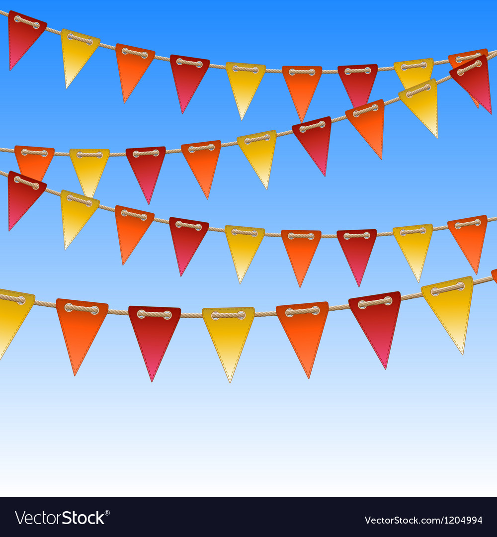 Celebration flags on rope