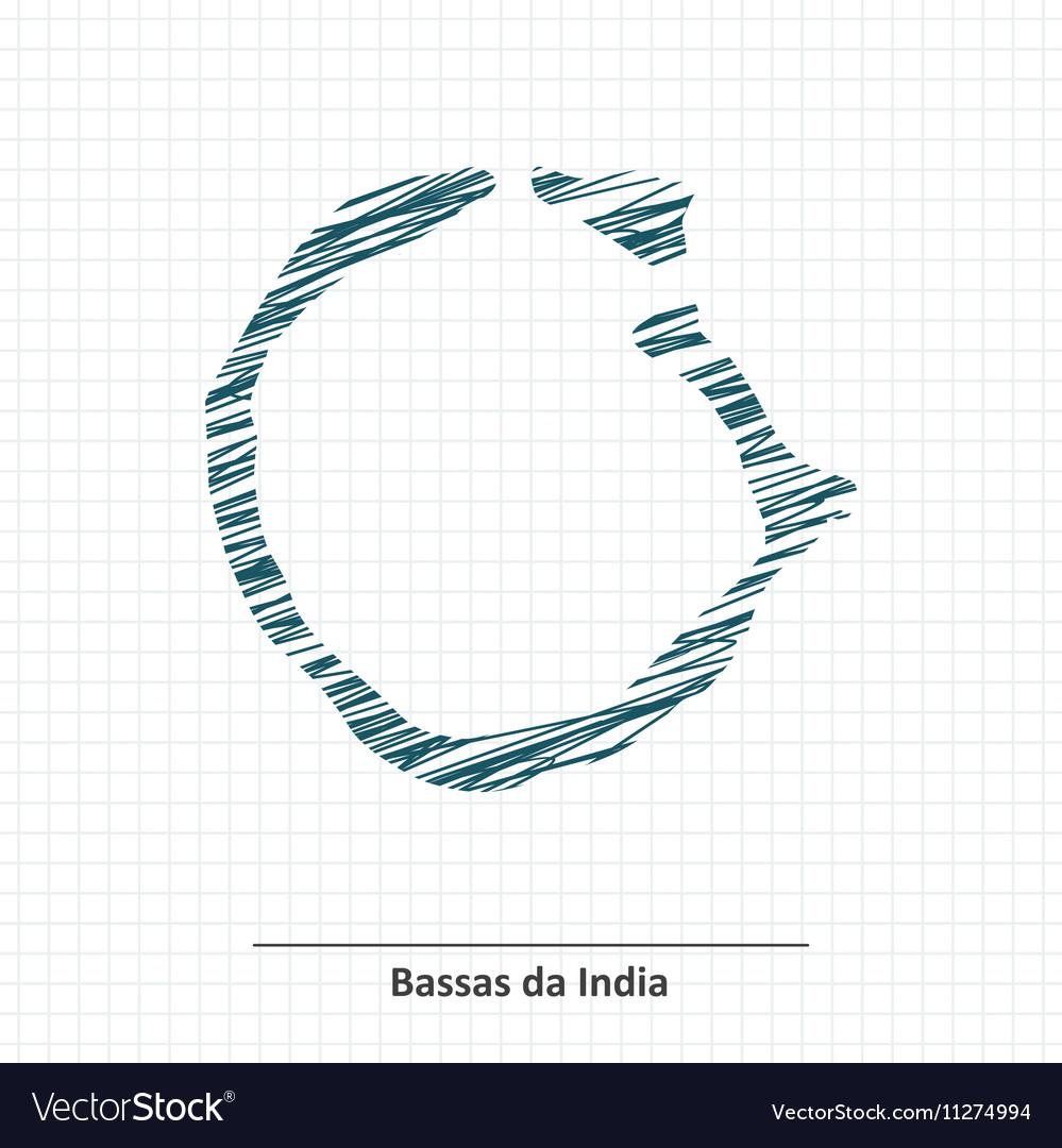 Doodle sketch of Bassas da India map