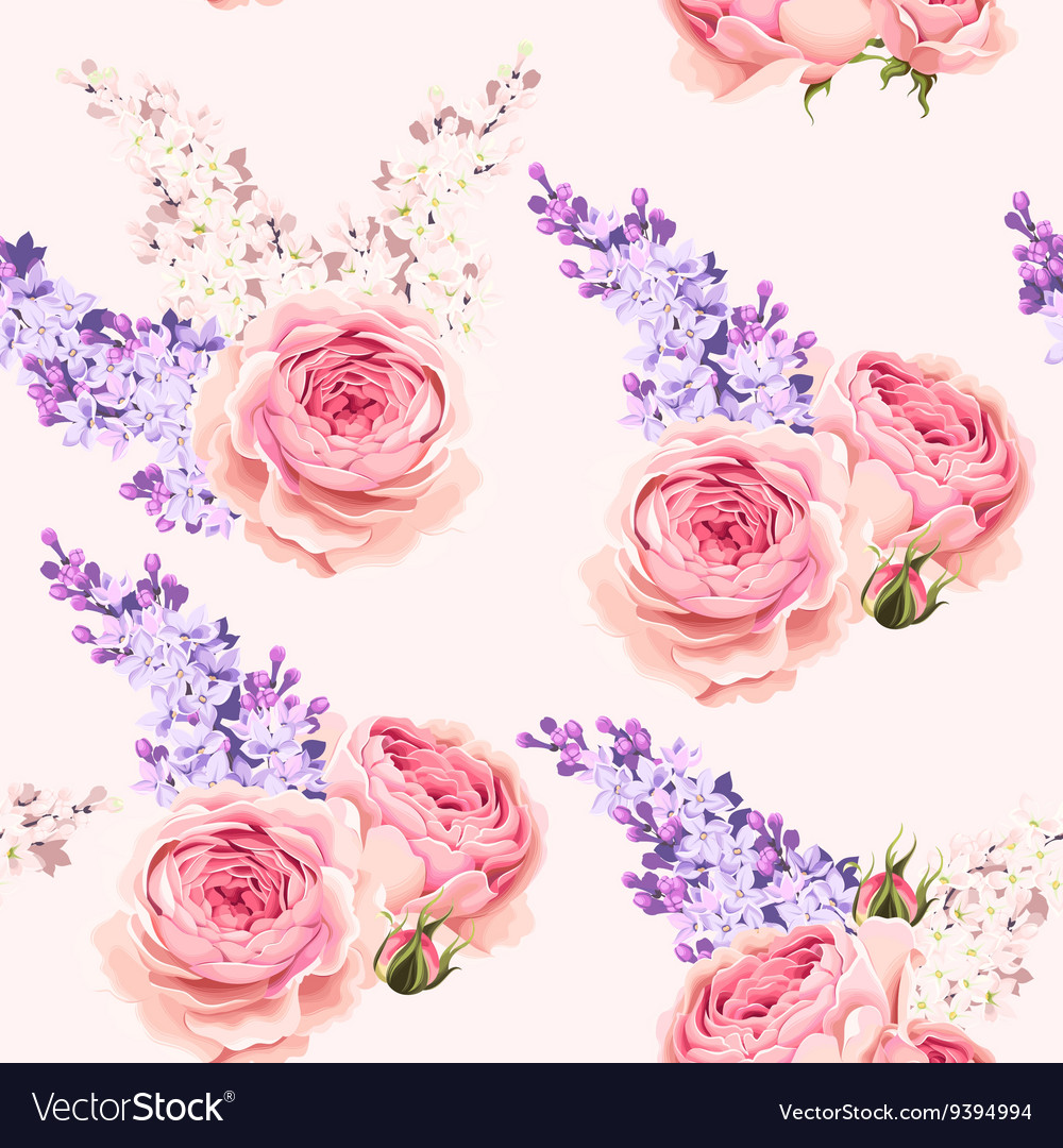 English roses and lilac seamless