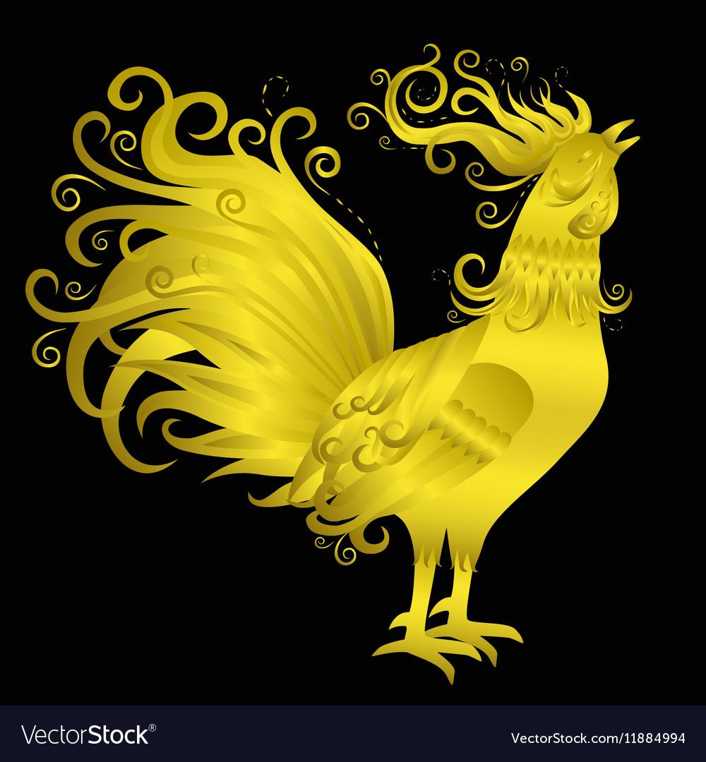 Golden rooster on black background