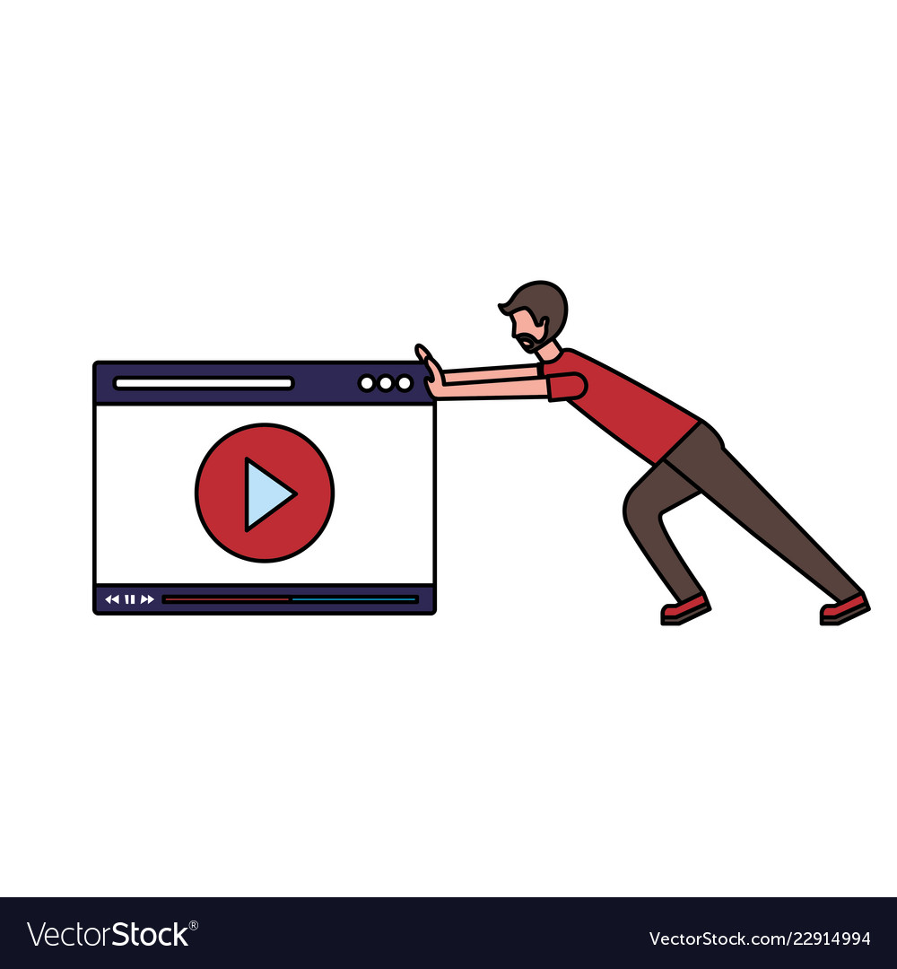 Man pushing website video player