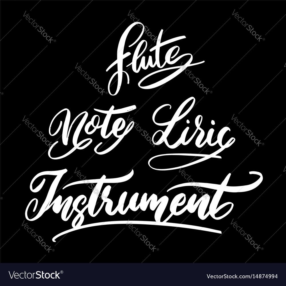 Music instrument hand written typography vector image