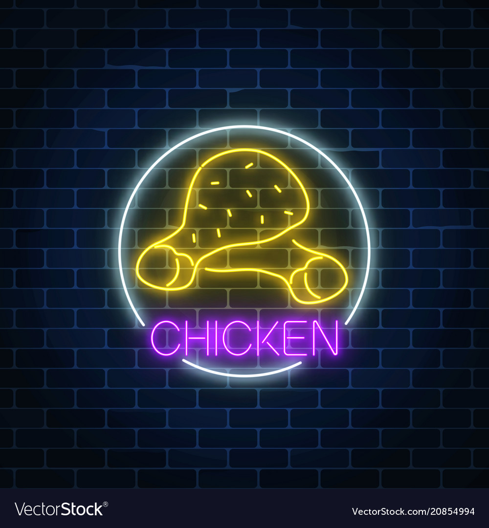 Neon glowing sign of chicken legs in circle frame vector image