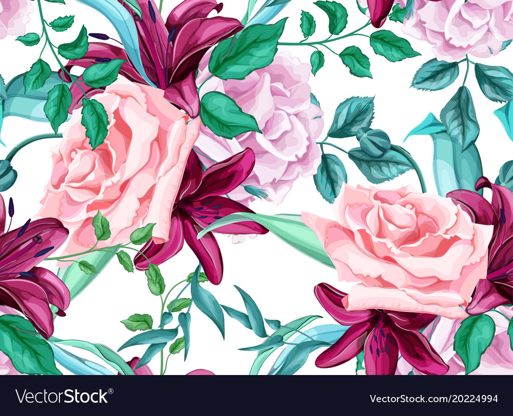 Rose lily bouquet seamless pattern