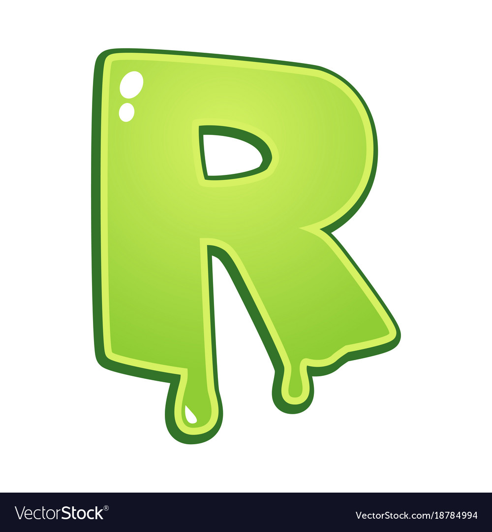 Slimy Font Type Letter R Vector Image
