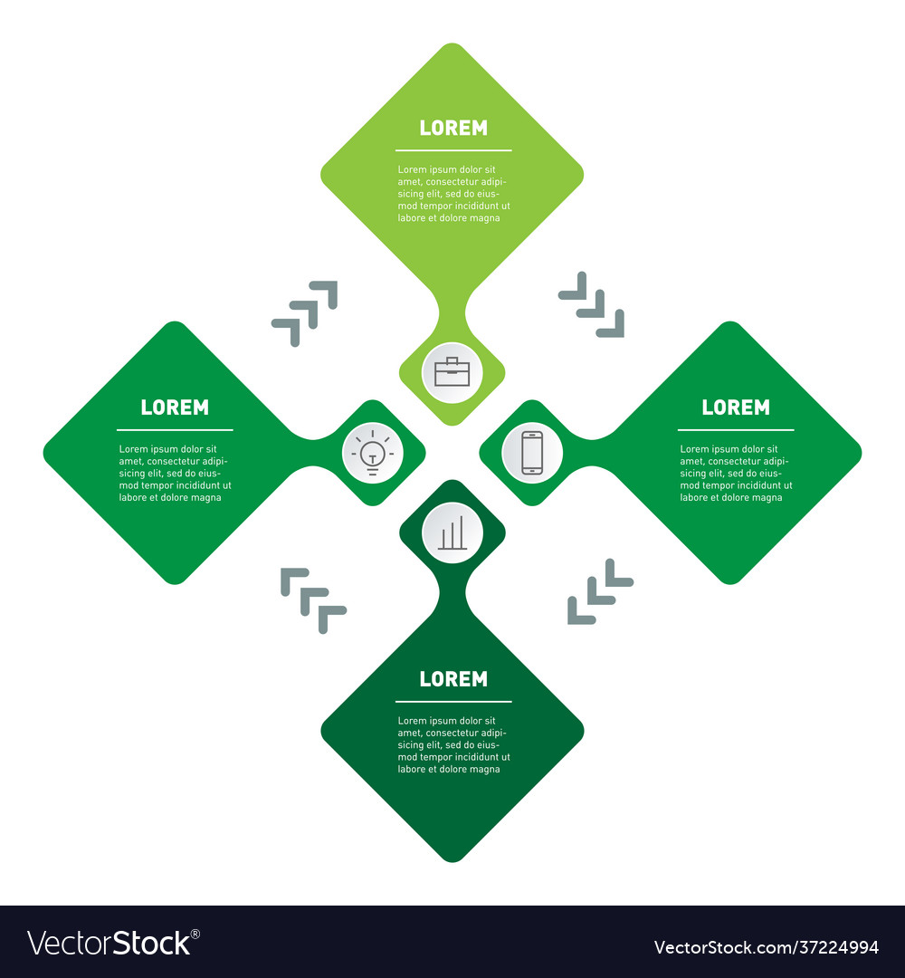 Template info graphic with 4 parts or