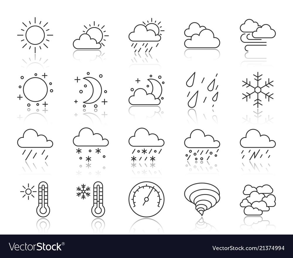 Weather simple black line icons set