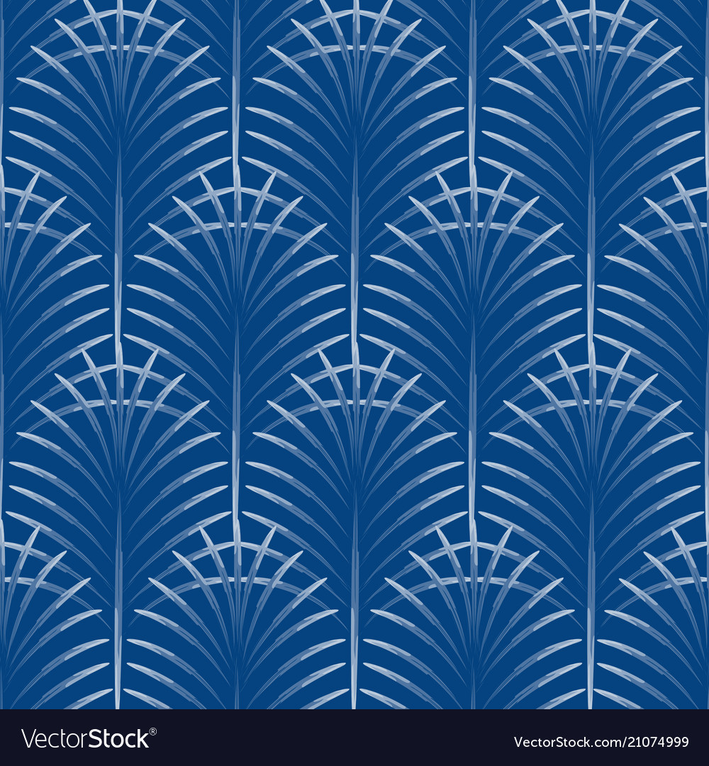 Art deco palm leaves geometry arch blue seamless