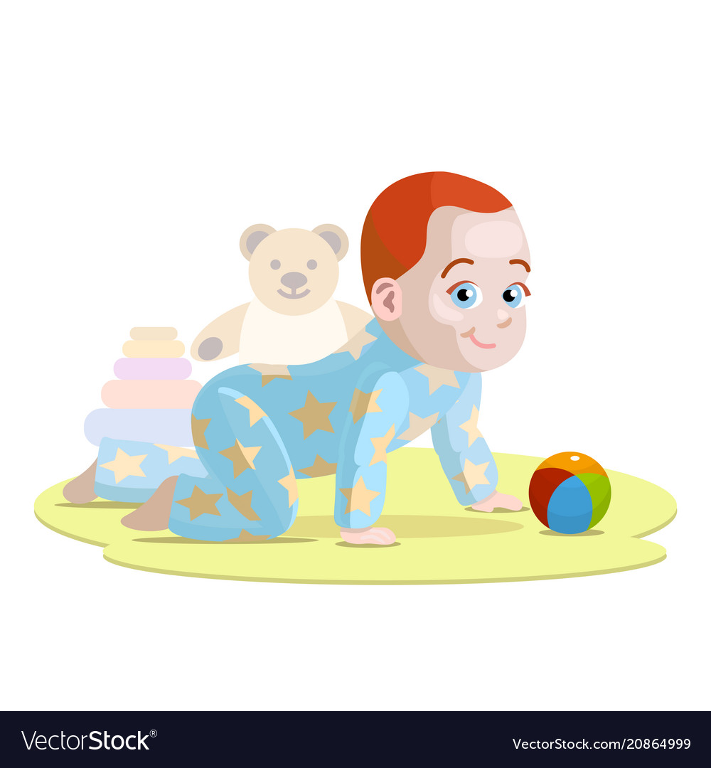 Crawling baby in cartoon style