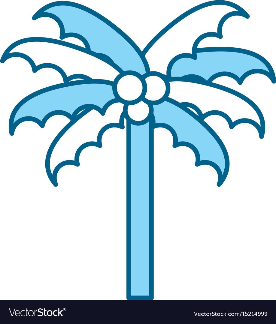 Cute blue beach palm cartoon