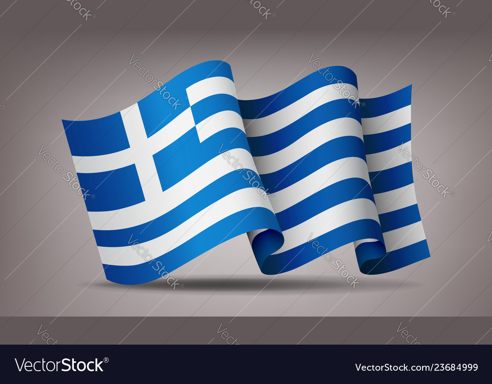 Greece waving flag icon isolated official symbol