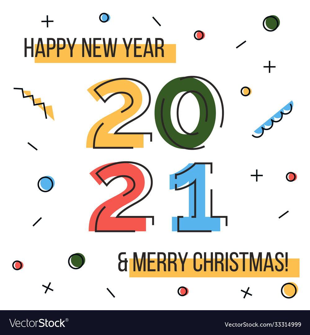 Happy new year 2021 and merry christmas greeting