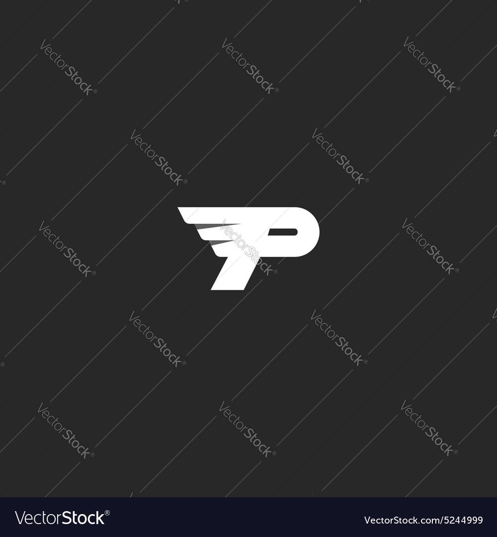 Letter P logo mockup modern business card flying vector image