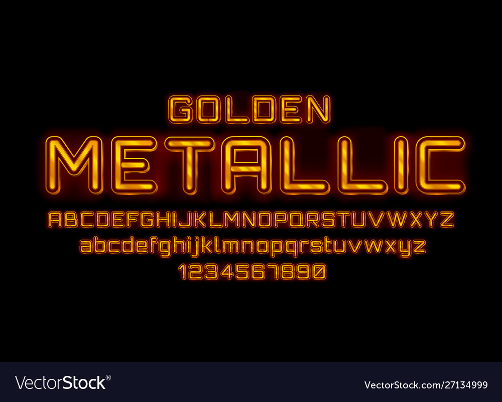 Metallic golden font english alphabet and numbers