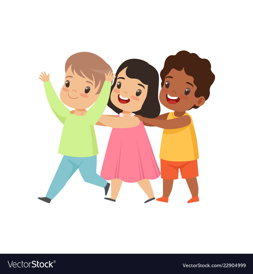 Multicultural Little Kids Having Fun Together Vector Image