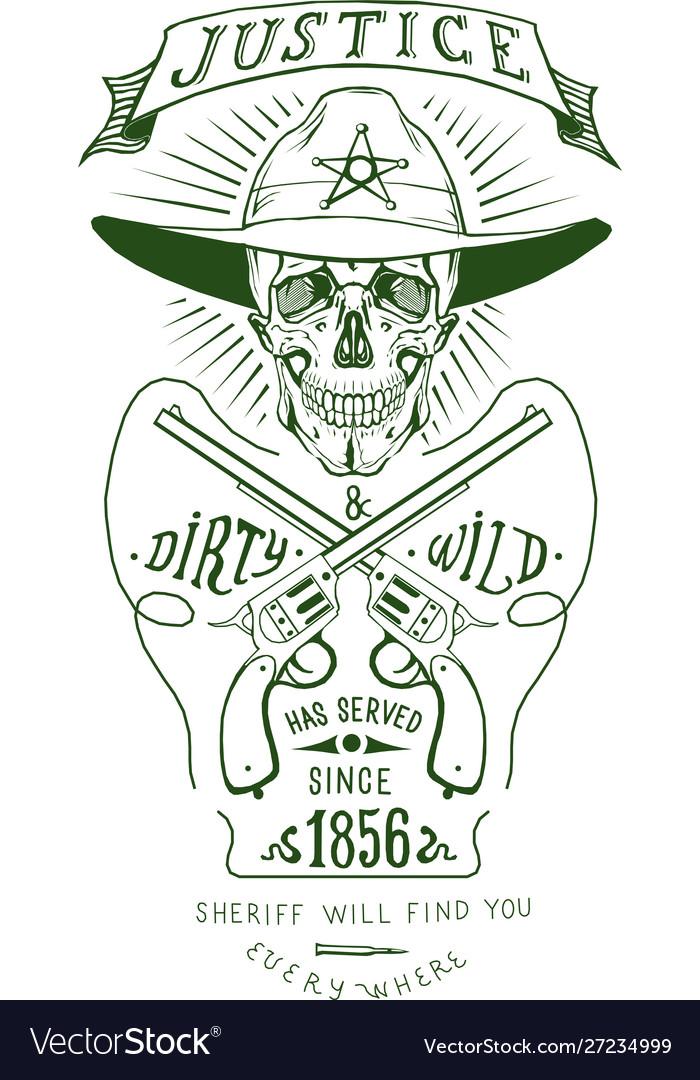 Skull sheriff art logo revolver logo