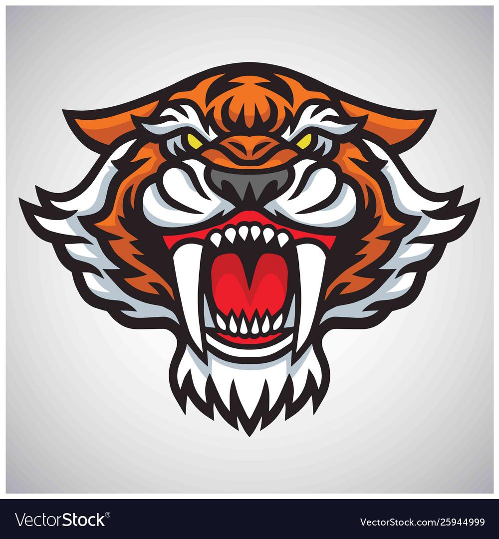 Tiger saber tooth head logo mascot design