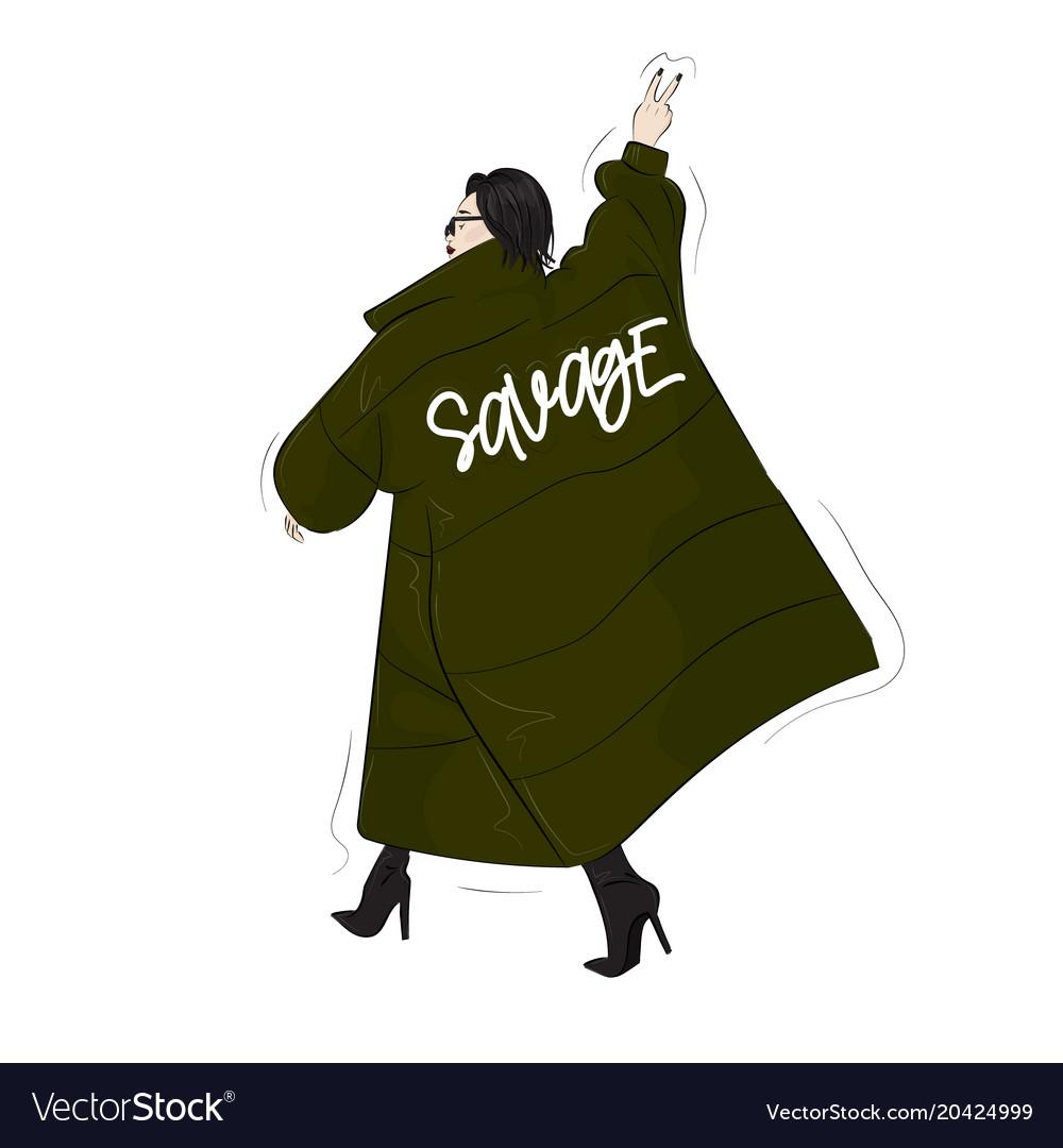 Woman in savage green oversize blanket coa