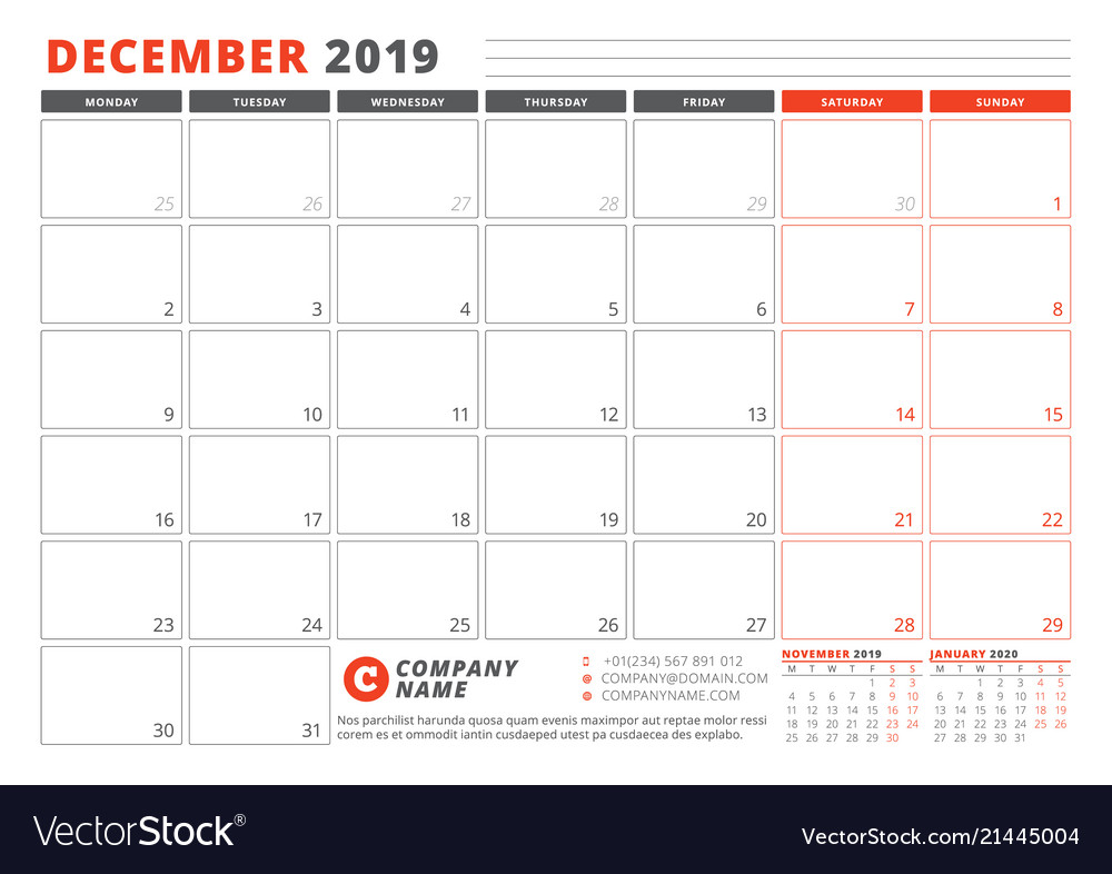 Calendar Template For December 2019 Business Vector Image