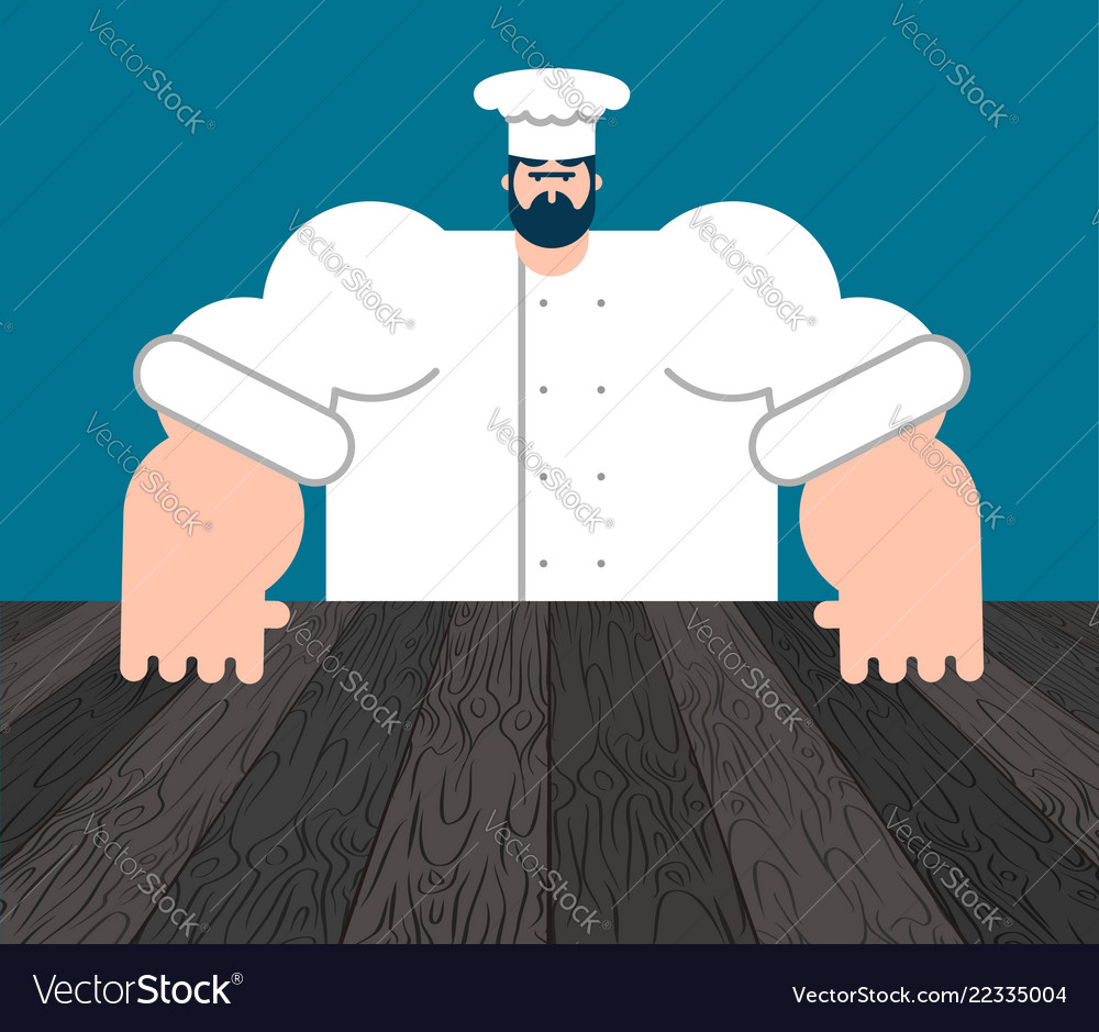 chef and table template for restaurant royalty free vector