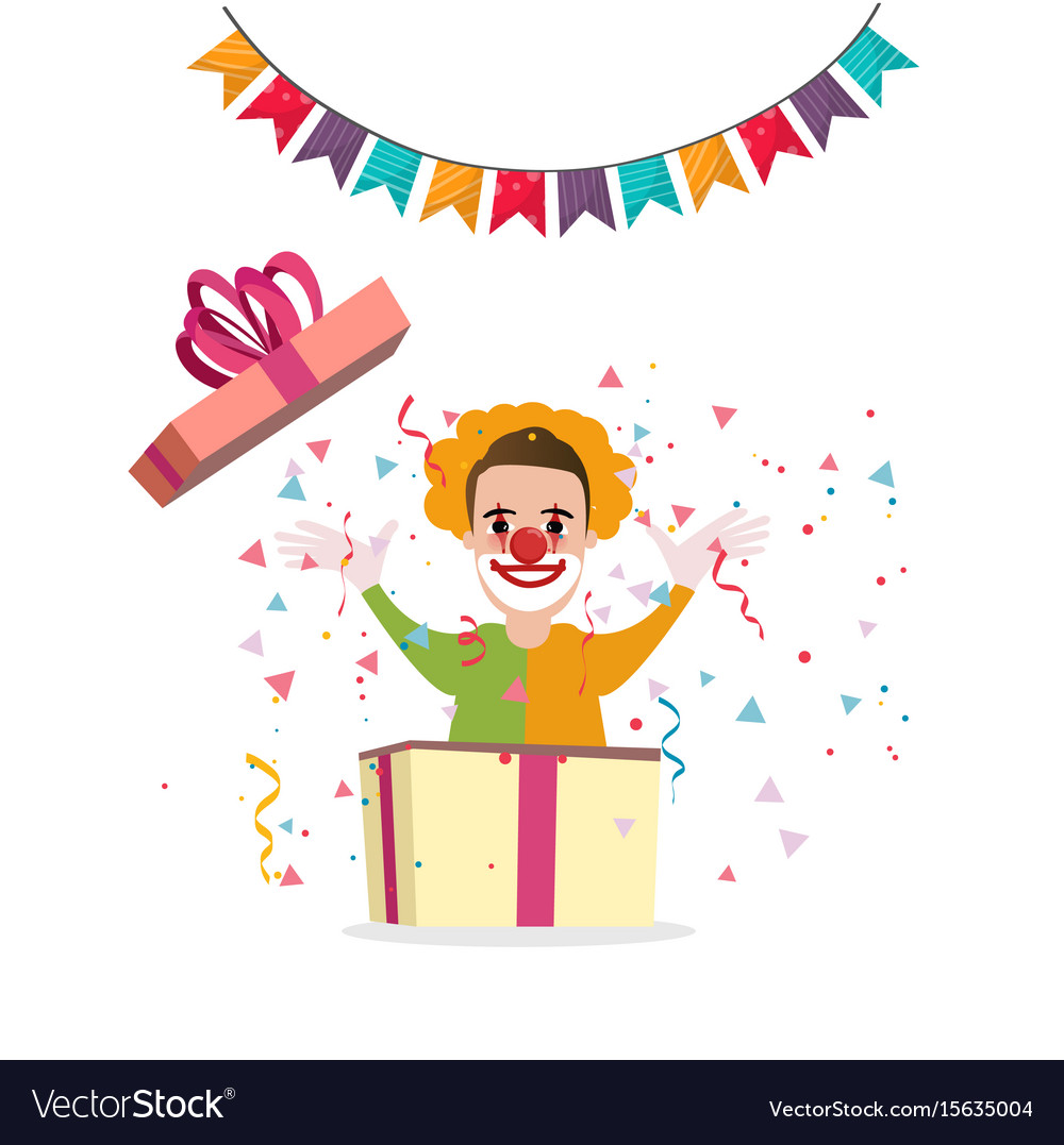 Clown surprise from box present party cartoon