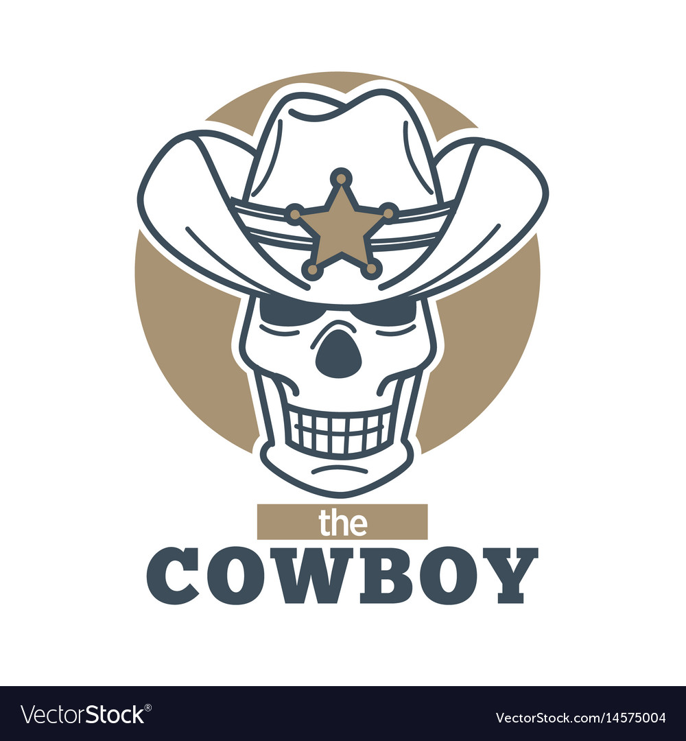 Cowboy logo skull in sheriff hat isolated on white
