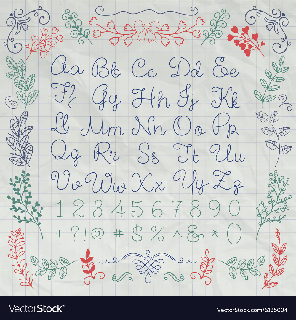Drawn English Alphabet Letters and Numbers on
