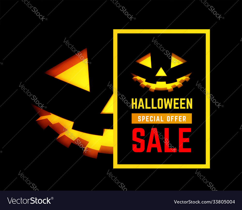 Halloween sale with pumpkin face