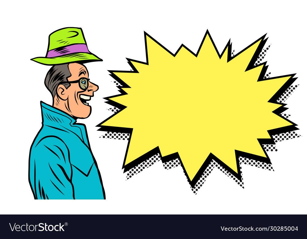 Happy businessman greeting raises his hat