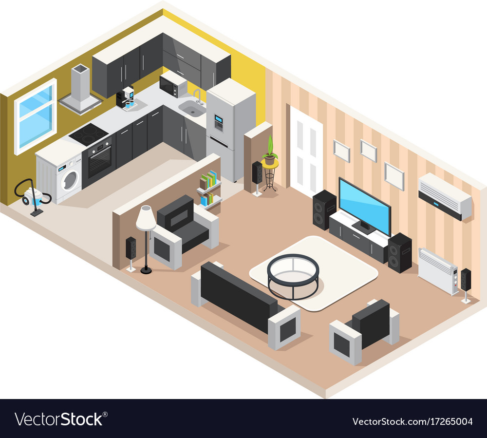 Home interior isometric design concept Royalty Free Vector