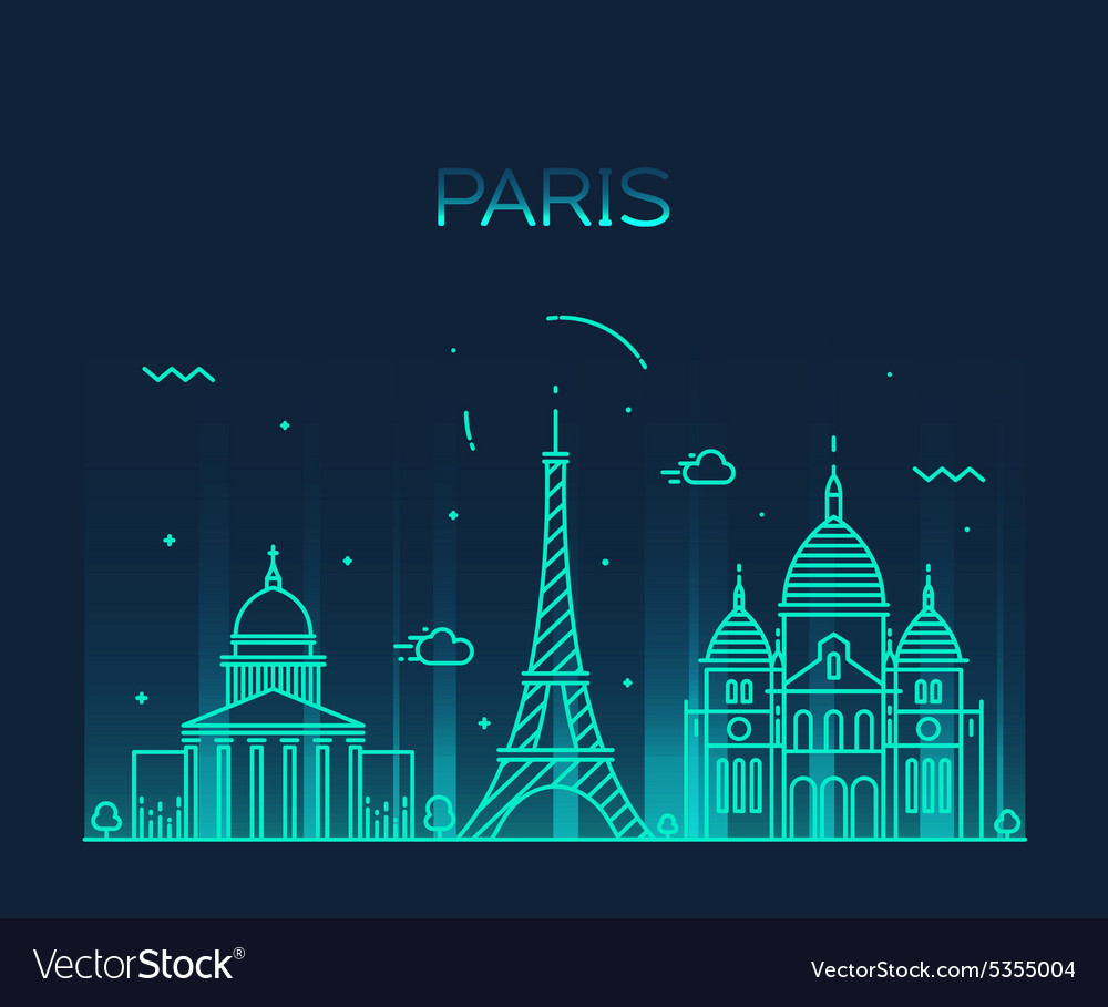 Paris City skyline Trendy line art