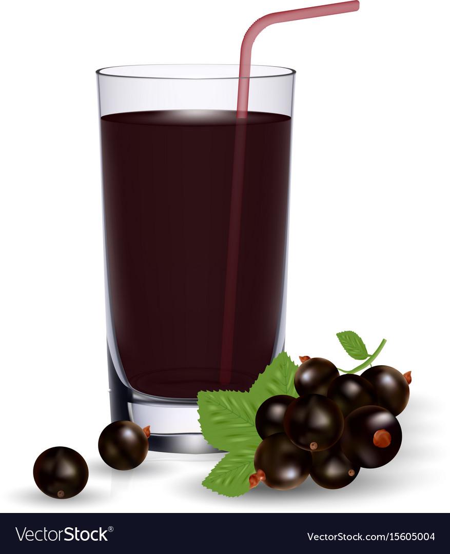 Set of blackcurrant juice and fresh ripe berries
