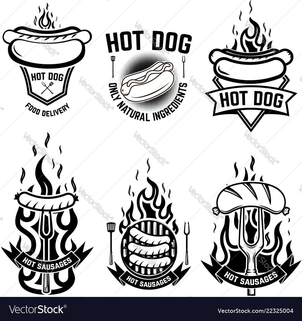 Set of emblems with hot dog design element for