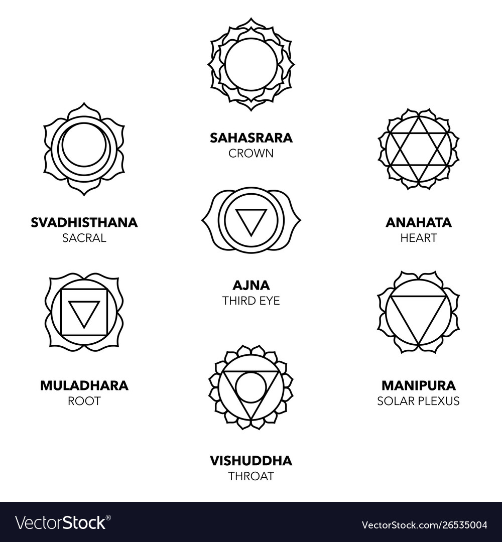 Seven chakras icons simple black graphic set