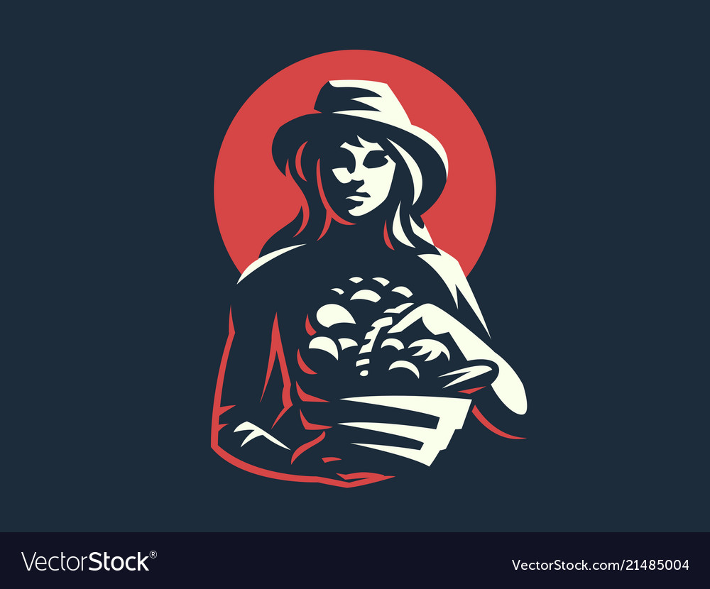 Woman farmer with basket of vegetables and fruits