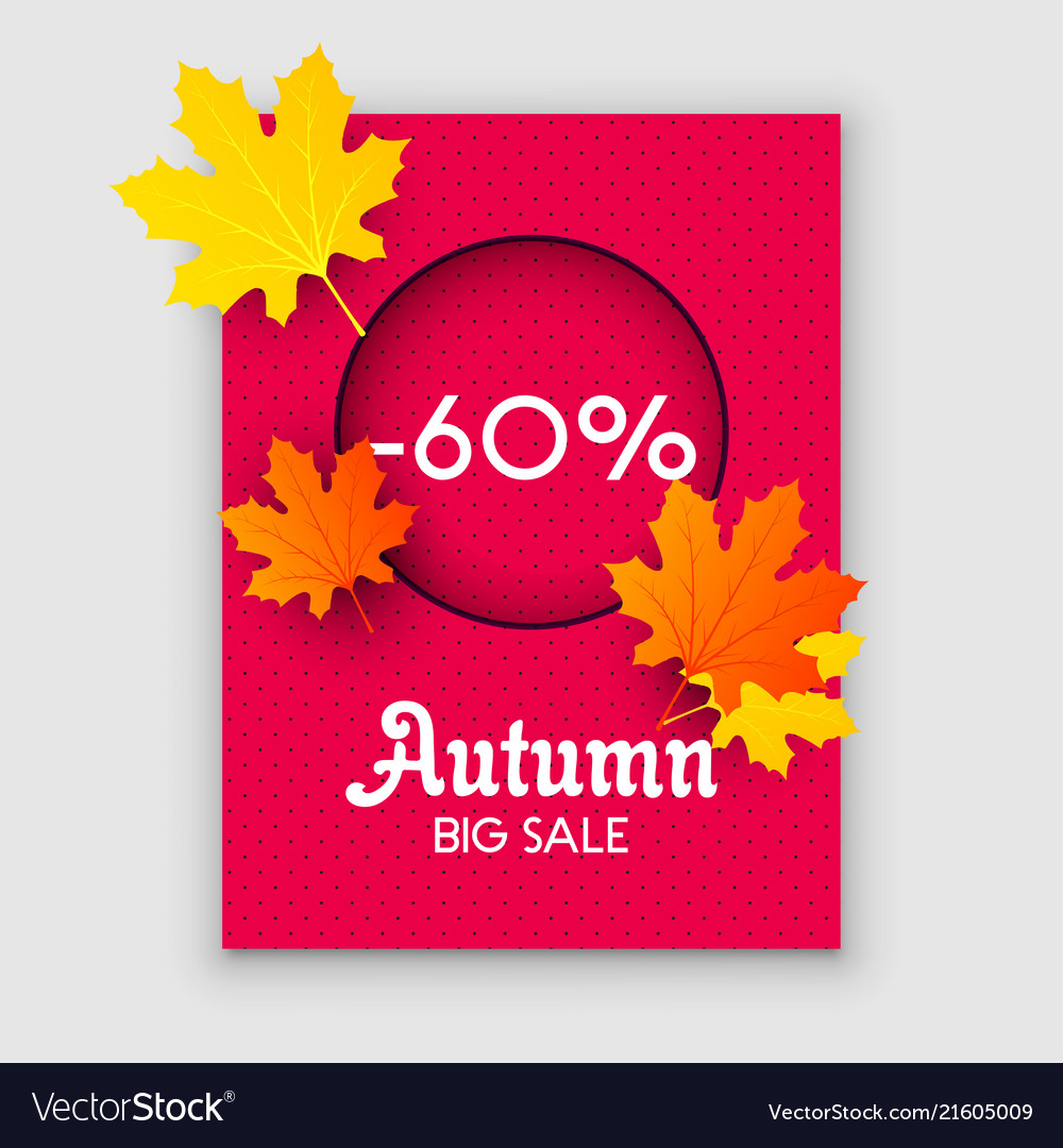 Autumn sale yellow fall leaves background