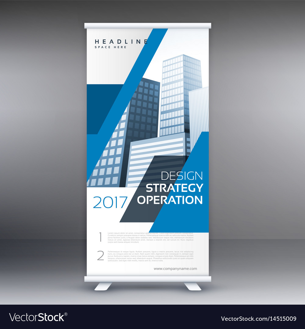 Blue Business Roll Up Standee Banner Template