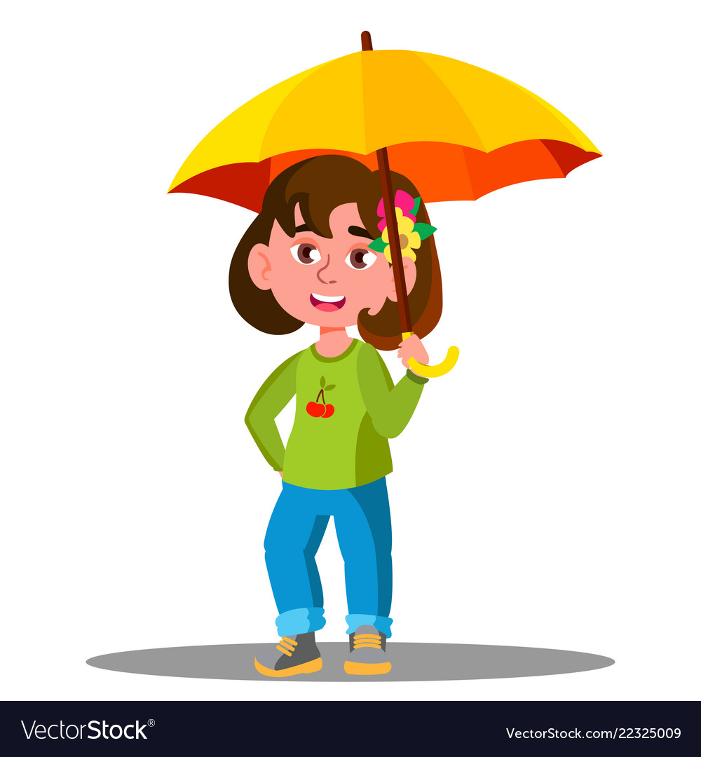 Cheerful child with yellow umbrella in the rain