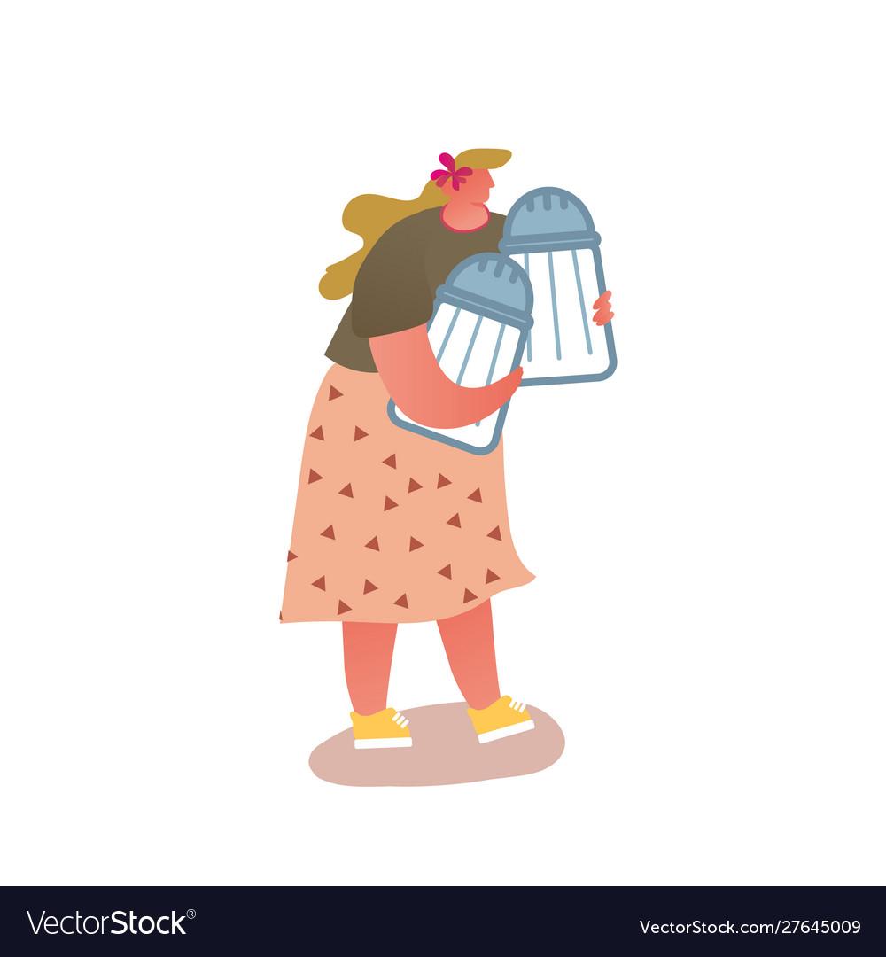 Cute fatty woman holding couple huge salt