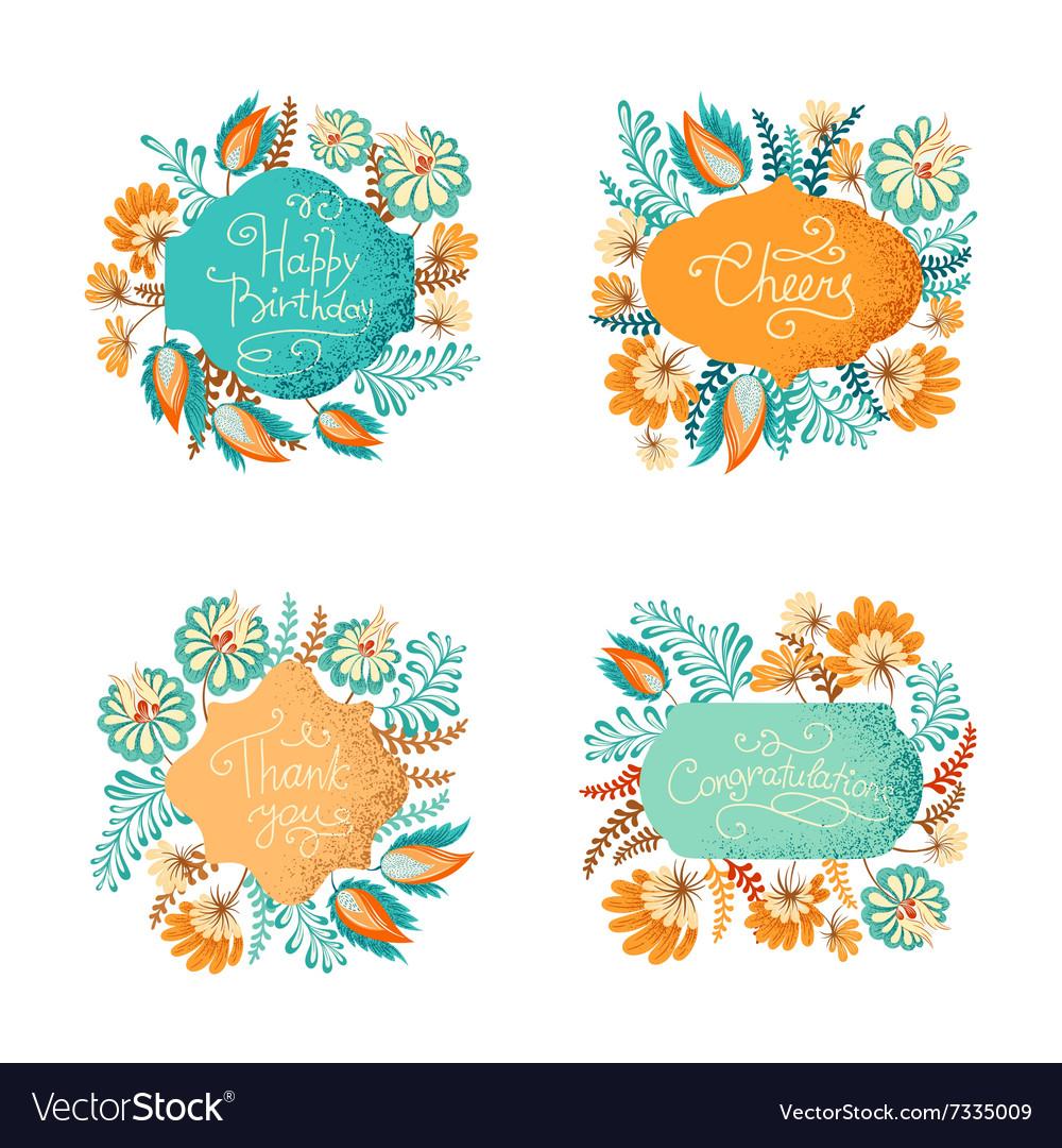 Floral vignettes bundle vector image