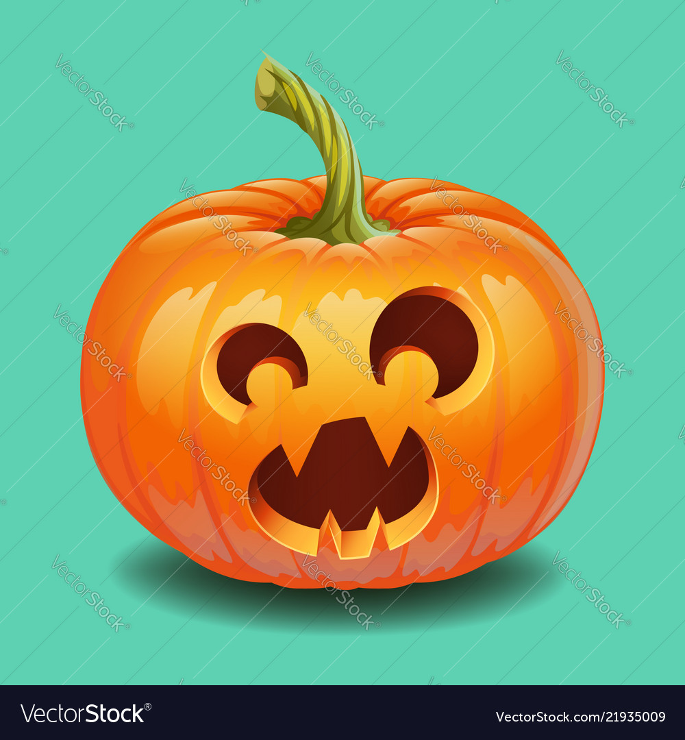 Halloween pumpkin face - funny surprised with big
