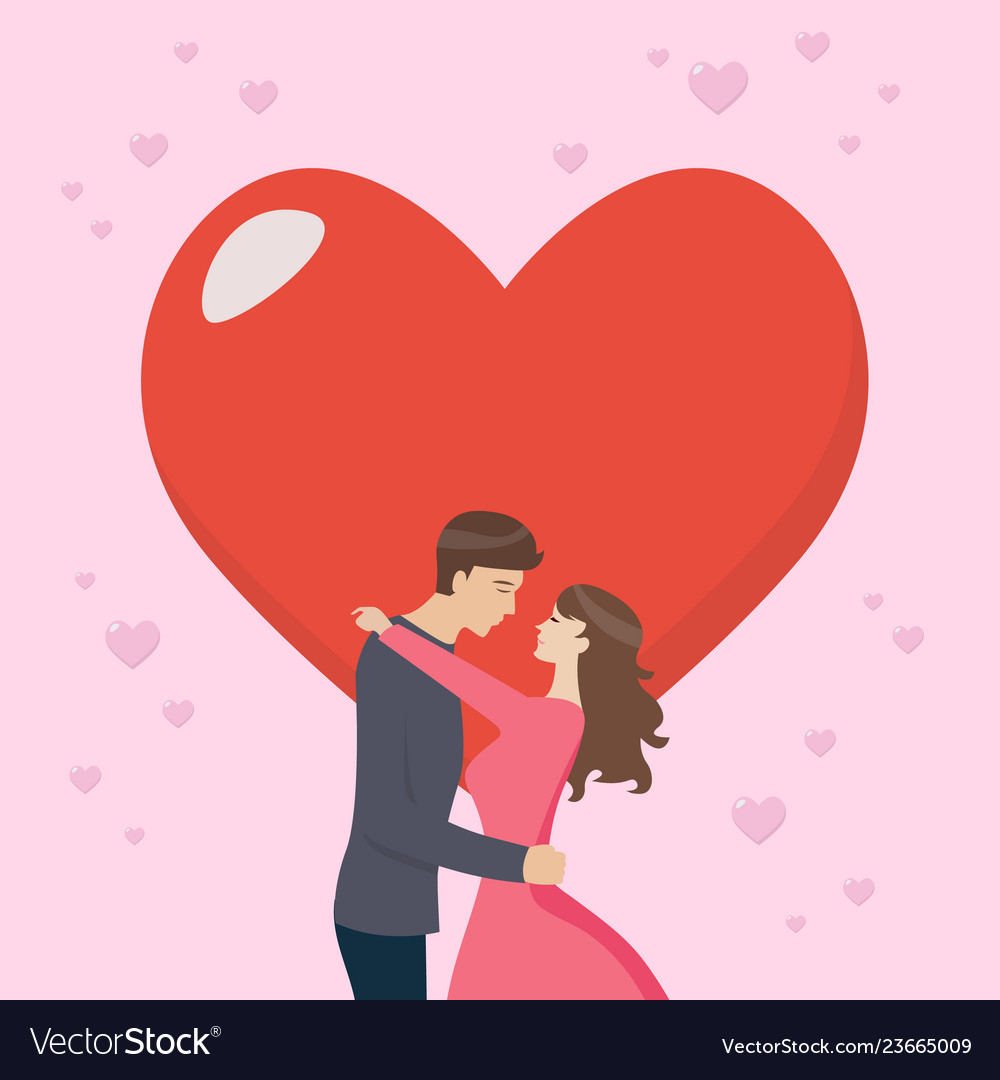Loving couple are kissing with big heart