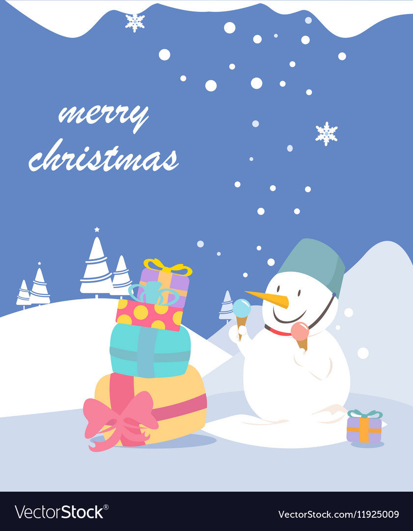 Merry Christmas greeting card snowman vector image