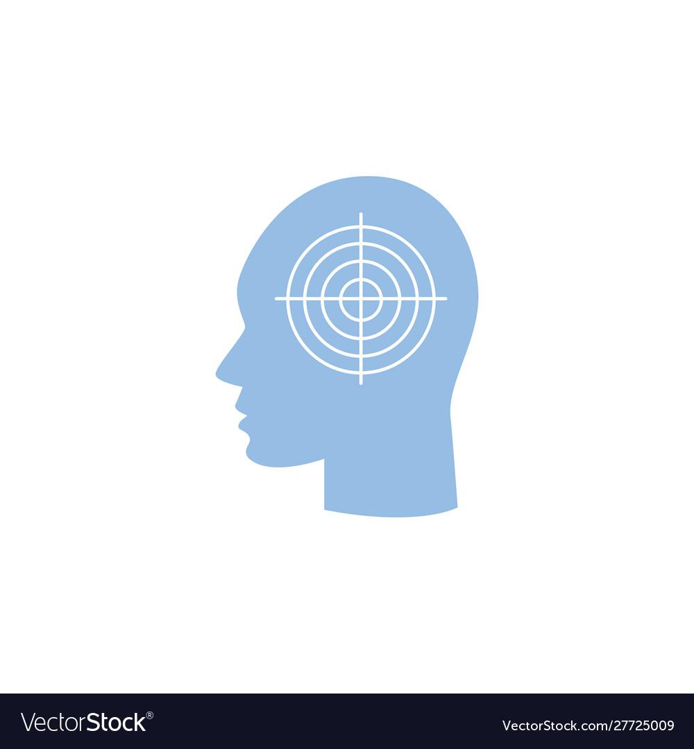 Migraine headache icon - human head in profile