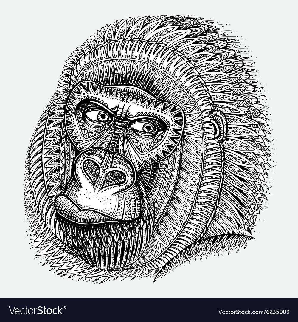 Patterned head of the gorilla in graphic style