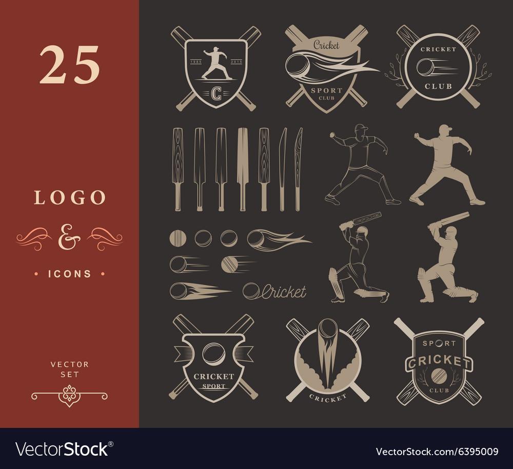 Set of Badges Cricket