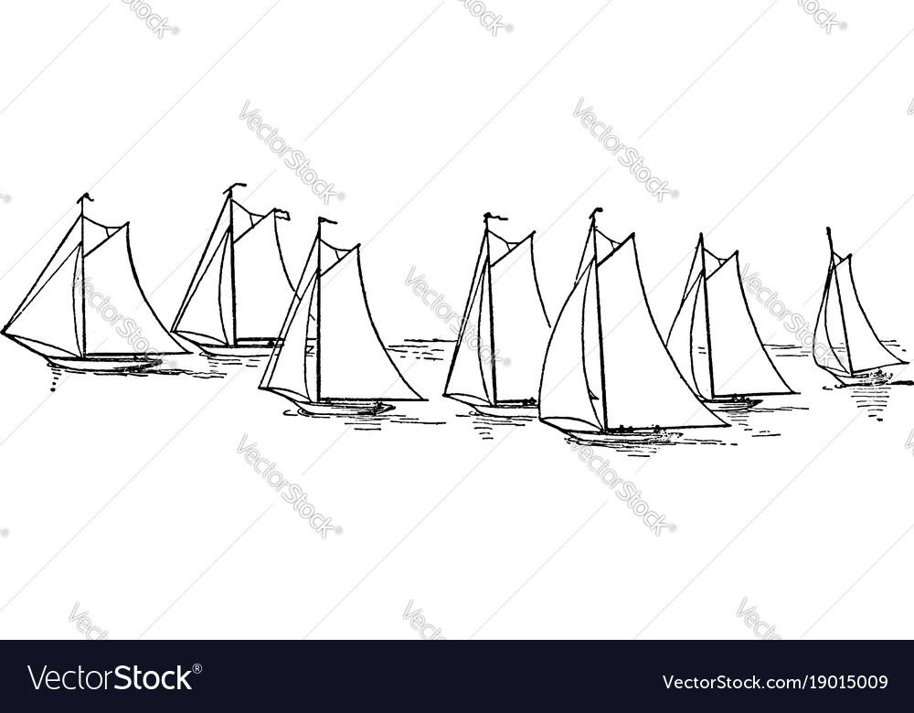 Seven sailboats vintage