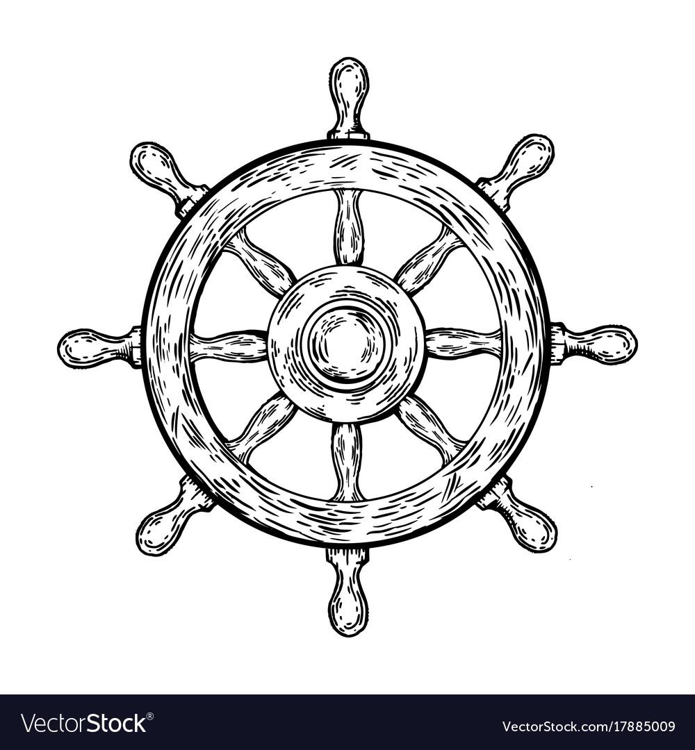 Ship Steering Wheel Engraving Royalty Free Vector Image