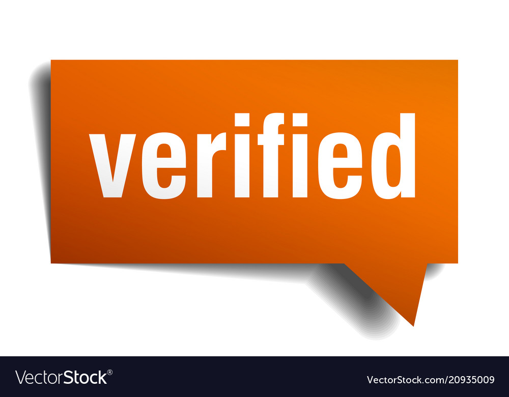 Verified orange 3d speech bubble