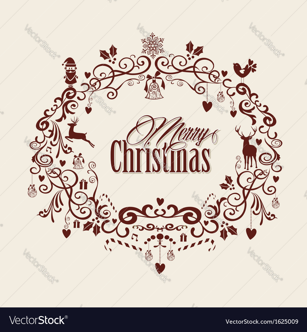 vintage merry christmas text and mistletoe design vector image - Vintage Merry Christmas